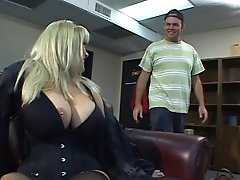Chesty Blonde Mummy Gets Her Titties Sucked By Youthful Stud