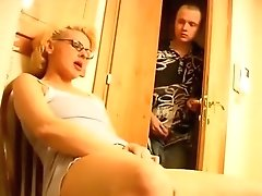 Horny Blonde Mature MILF Sucking And Fucking With Young Horny Dude