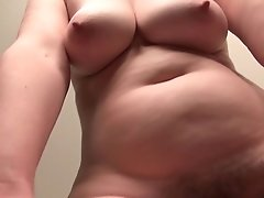 Old Assistant Kelli Strips Off And Thumbs Her Hairy Puss