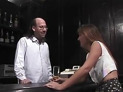 Mature Dark Haired Inhales Hairy Bartenders Hard Pole Then Gets Fucked