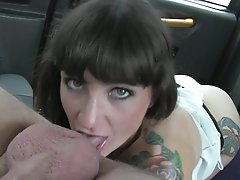 Faketaxi Brown-haired Does Ass Fucking Down To The Nut