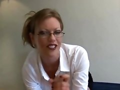 Amateur MILF With Glasses Milks Angry Guest
