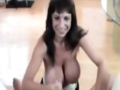 Big Titted Milf Babe Tugs Cock For Her Man