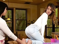 Latina MILF Babe Shoves A Dildo In A Young Teen Pussy