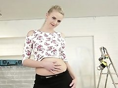 Blonde Woman Nicole Love Demonstrates Her Private Parts