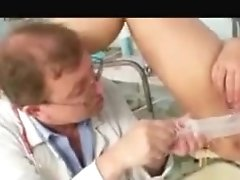 Busty Granny Strips For Exam