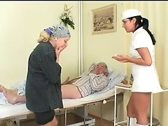 Wild Hot Nurse Helps Old Patient To Get Laid