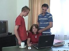 Granny And Boys Teenage Threesome In The Office