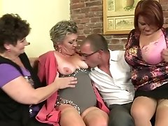 Mature Mothers Sharing One Lucky Boy's Sausage