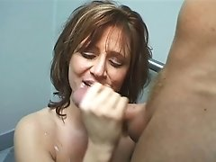 Milky Whore With Big Nips Gets Her Face Fucked With Guys Big Penis