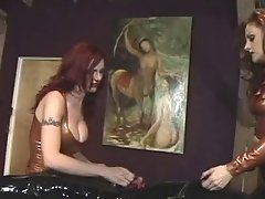 Two Black-haired Perverts Play Wit A Masked Dude On The Table