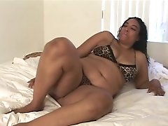 Fat Black Superslut Slips A Clear Faux-cock Inwards Her Moist Cooter