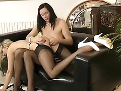 Brit Stockings Mummy Plays With Big-chested Pal