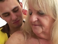 He Brings Blond Grandma For Hard Fuck