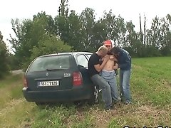 Granny And Boys Teenager Outdoor Threesome