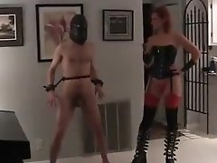 Sexy Mistress Tortures Her Tied Up Slave And Kicks Him In T