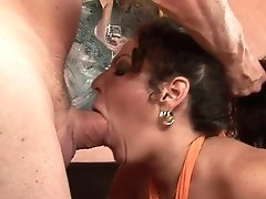 Huge-boobed Mummy Licks Spunk After Stud Fucks Her Hard-core