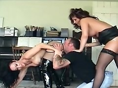Two Authoritative Women Make A Gimp Clean Them With Tongue
