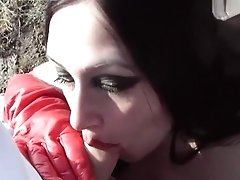 Public Blowjob Handjob - Vamp In Leather, Gloves And Boots - Cum In My Mouth