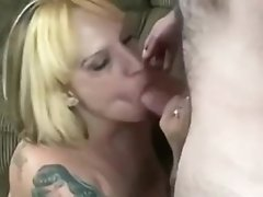 Trashy Chubby Blonde With Big Tits Sucking On Cam