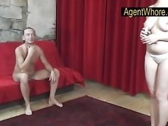 Big-chested Agent Whore Shows Udders Rubdown To Older Man