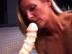 Gorgeous Mature Blonde In High High-heeled Slippers Fucks A Thick Fake Penis