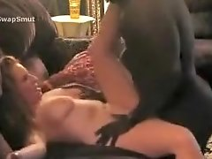 Interracial Mature Blonde Gets Her Pussy Pumped Up By Horny Black Guy