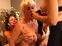 Mature Tart Plays With Tits While Friend Fellates Hard Fuck Stick
