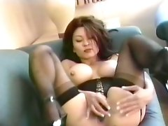 Asian Mature In Underwear Corset Stimulated By Hitachi