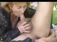 Two Matures Fuck An Man On A Couch In The Yard